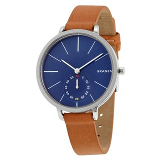 Skagen Women's SKW2355 Hagen Blue Dial Watch with Brown Leather Strap