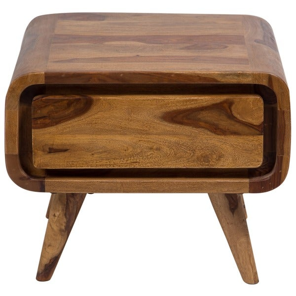 "Handmade Oslo Sheesham Mid-Century Modern End Table - 14"" x 24"" x 25"" (India)"