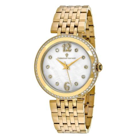Christian Van Sant Women's Jasmine Round Gold-tone Stainless Steel Bracelet Watch
