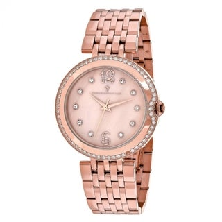 Christian Van Sant Women's Jasmine Round Rose-tone Stainless Steel Bracelet Watch