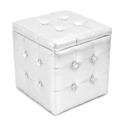 Chic Silver Tufted Cube Storage Ottoman