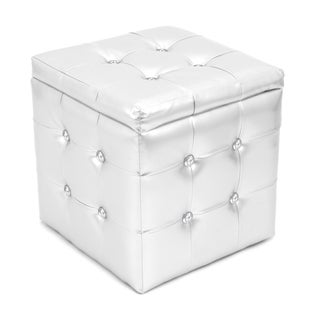 Chic Silver Tufted Cube Storage Ottoman