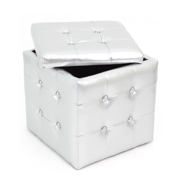 Chic Silver Tufted Cube Storage Ottoman Free Shipping