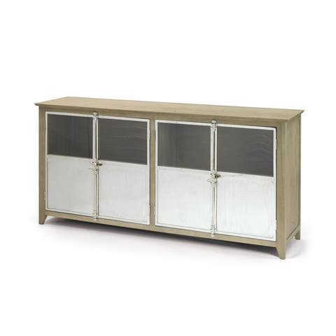 Oak and Stainless Steel Sideboard