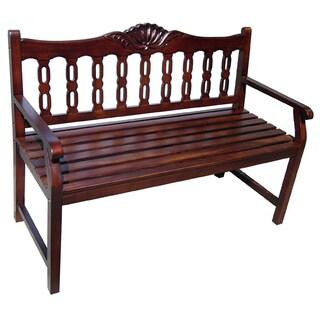 Handmade D-Art Mahogany Wood Victoria Shell Bench (Indonesia)