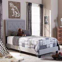 Baxton Studio Penelope Modern and Contemporary Beige or Grey Upholstered Twin Size Tufting Platform Bed