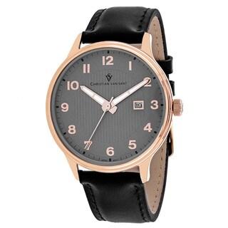 Christian Van Sant Men's Montero Round Black Leather Strap Watch