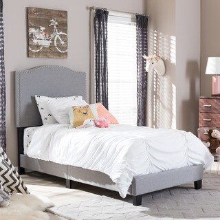 Baxton Studio Bakchos Modern and Contemporary Beige or Grey Upholstered Twin Size Arched Platform Bed with Nailheads
