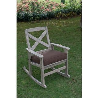 Rocking Chair with Brown Seat Cushion