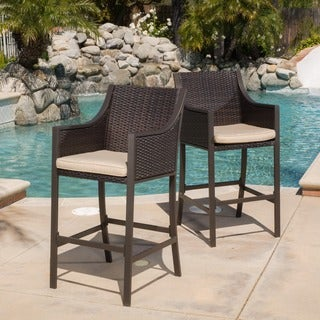Riga Outdoor Wicker Barstool with Cushion (Set of 2) by Christopher Knight Home