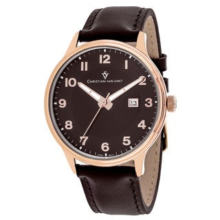 Christian Van Sant Men's CV9811 Montero Round Brown Leather Strap Watch
