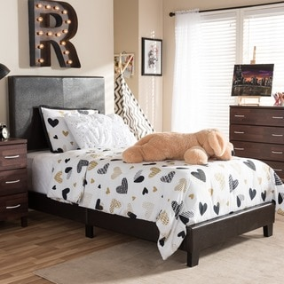 Baxton Studio Simonides Modern and Contemporary Brown or White Faux Leather Upholstered Twin Size Platform Bed