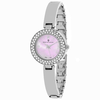 Christian Van Sant Women's CV8611 Palisades Round Silver-tone Stainless Steel Bracelet Watch