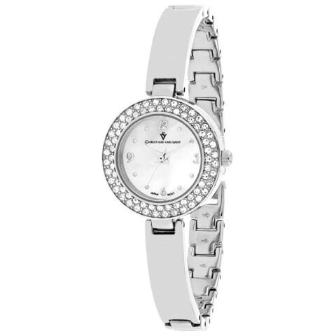 Christian Van Sant Women's Palisades Round Silver-tone Stainless Steel Bracelet Watch