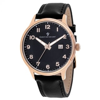 Christian Van Sant Men's CV9812 Montero Round Black Leather Strap Watch