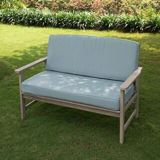 Cambridge Casual West Lake Love Seat with Blue Seat and Back Cushion