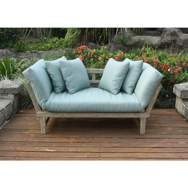 cambridge casual west lake spruce blue convertible outdoor sofa daybed free shipping today. Black Bedroom Furniture Sets. Home Design Ideas