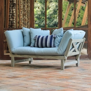 Cambridge Casual West Lake Spruce Blue Convertible Outdoor Sofa Daybed