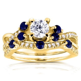 Annello 14k Yellow Gold 1ct TCW Diamond and Blue Sapphire Bridal Set (H-I, I1-I2)