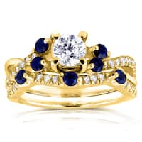 Annello by Kobelli 14k Yellow Gold 1ct TCW Diamond and Blue Sapphire Bridal Set