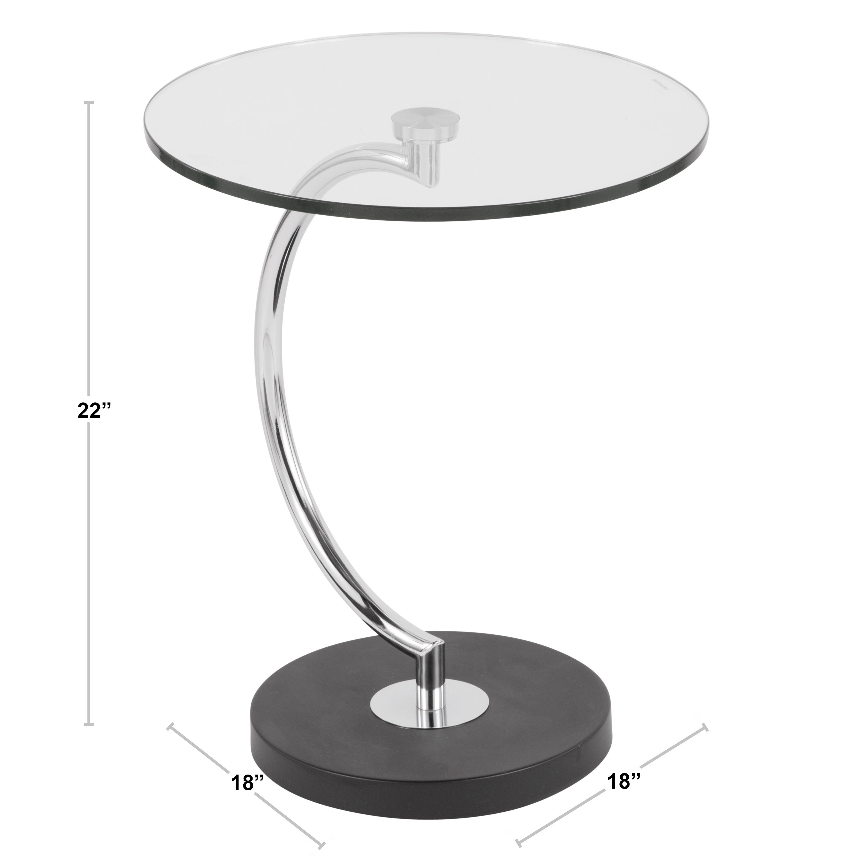Shop Black Friday Deals On Contemporary C Shaped Glass And Chrome End Table Overstock 11552185