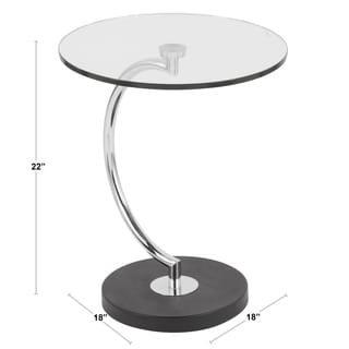 Contemporary C-Shaped Glass and Chrome End Table
