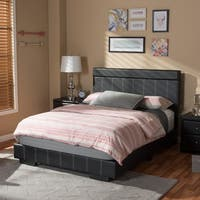 Baxton Studio Sousanna Modern and Contemporary Full Size Black Faux Leather Platform Bed