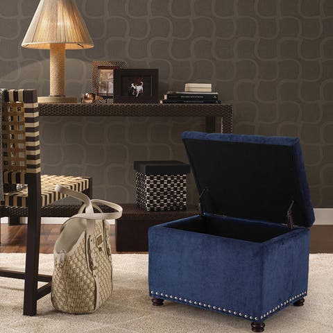 Adeco High End Classy Tufted Accents Rectangular Storage Bench Ottoman Footstool