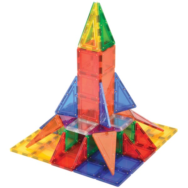 MagWorld Toys Rainbow 104-piece 3D Magnetic Building Tiles