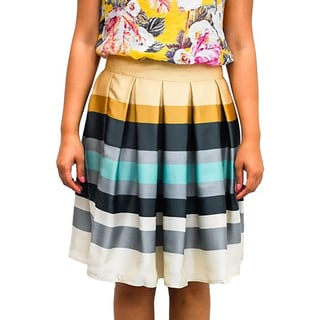 Relished Women's Love Letter Striped Pleated Skirt