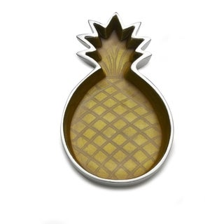 Mikasa Celebrations Yellow Aluminum Pineapple Decorative Tray