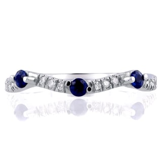 Annello 14k White Gold 1/4ct TCW Diamond and Blue Sapphire Wavy Band (G-H, I1-I2)