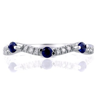 Annello by Kobelli 14k White Gold 1/4ct TCW Diamond and Blue Sapphire Wavy Band
