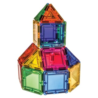 MagWorld Toys Rainbow 42-piece 3D Magnetic Building Tiles