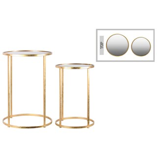 Modern Tarnished Gold Round Nesting Accent Table (Set of 2)