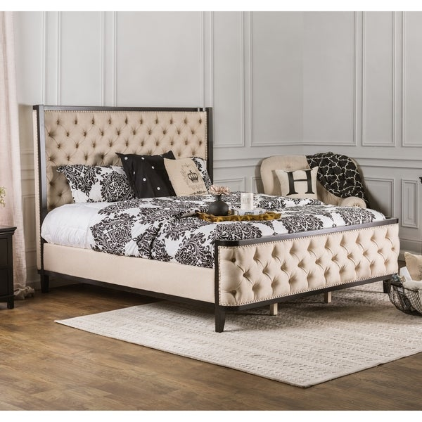 Furniture of America Vist Glam Ivory Fabric Upholstered Wingback Bed