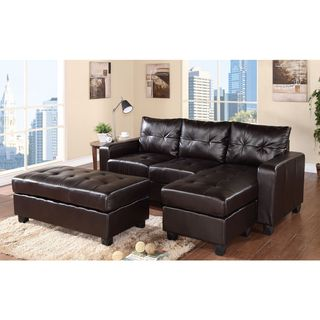 Aspen Reversible Espresso Bonded Leather Chaise Sectional