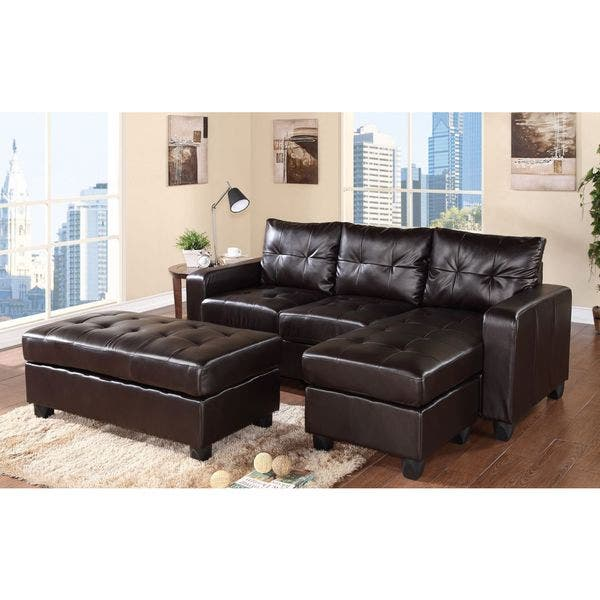 Magnificent Aspen Reversible Espresso Bonded Leather Chaise Sectional Evergreenethics Interior Chair Design Evergreenethicsorg