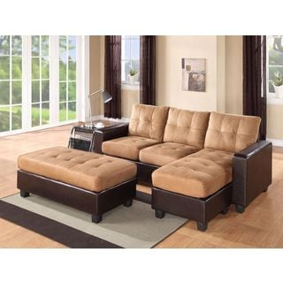 Captivating Aspen Reversible Microfiber Chaise Sectional