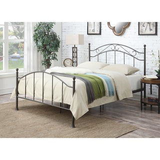 Metal Dark Bronze Queen-size Curved Bed