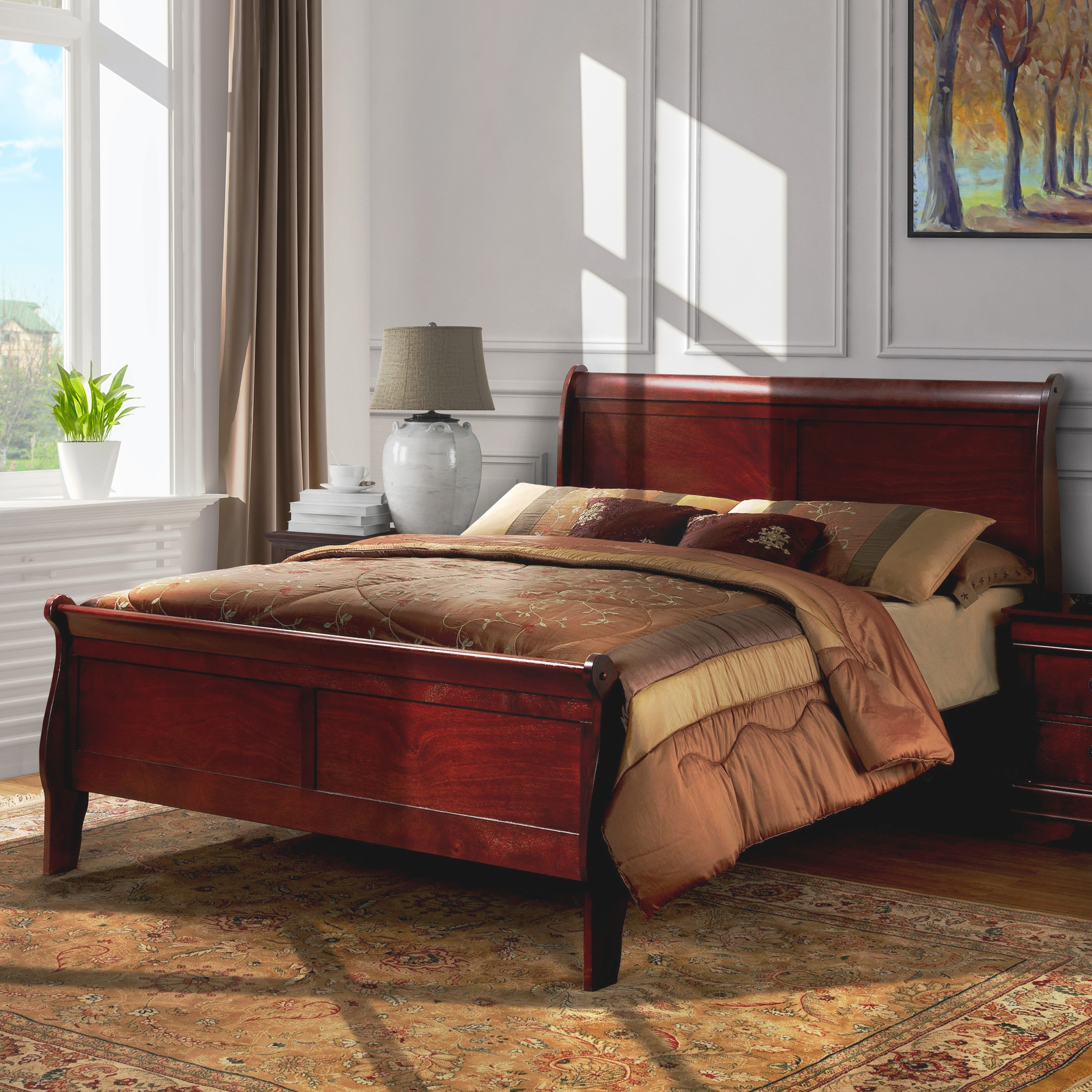 Furniture of America Mayday II Paneled Cherry Sleigh Bed ...