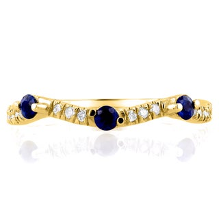 Annello by Kobelli 14k Yellow Gold 1/4ct TCW Diamond and Blue Sapphire Wavy Band (G-H, I1