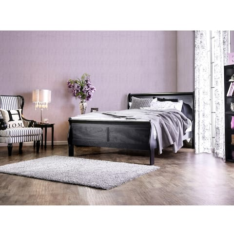 Furniture of America Devi Transitional Solid Wood Sleigh Bed
