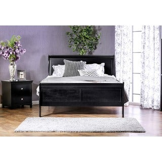 Furniture of America Mayday II Paneled Black Sleigh Bed
