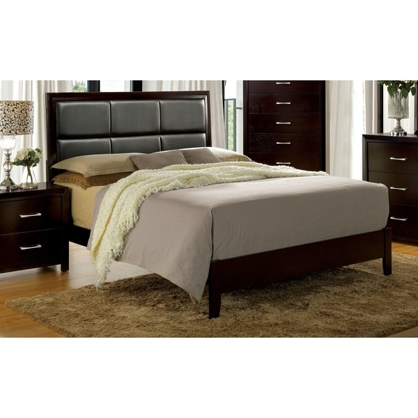 Furniture of America Hoss Contemporary Espresso Faux Leather Panel Bed