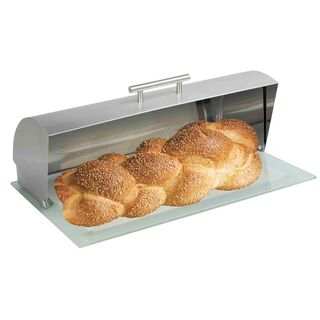 Home Basics Stainless Steel Bread Box with Glass Bottom