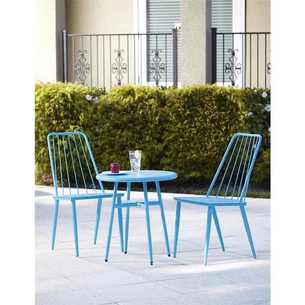 COSCO 3 Piece Blue Outdoor Bistro Steel Patio Furniture Set