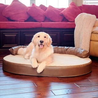 Integrity Bedding Orthopedic Memory Foam Leatherette Joint Relief Bolster Dog Pet Bed