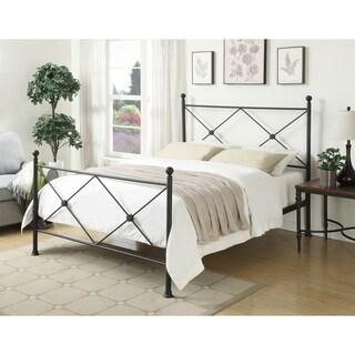 Black Metal Queen-size X-motif Bed