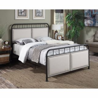 Metal/ Linen Queen-size Bed